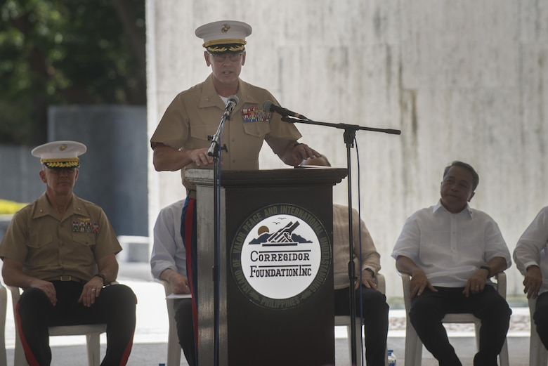 U.S. Marine Col. Kevin A. Norton delivers his remarks during a ceremony to mark the 75th anniversary of the fall of Corregidor to the Japanese during World War II on Corregidor, Cavite, May 6, 2017. Norton is the commanding officer for the 4th Marine Regiment. The ceremony was held to commemorate the Marines, Soldiers, Sailors and Filipinos who fought and sacrificed to defend the Philippines during World War II.
