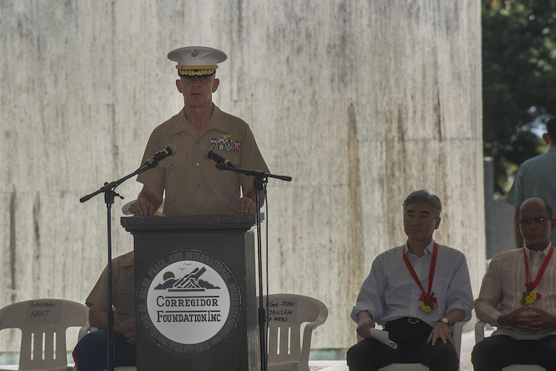 U.S. Marine Brig. Gen John Jansen introduces the Honorable Sung Y. Kim, U.S. Ambassador to the Philippines, during a ceremony to mark the 75th anniversary of the fall of Corregidor to the Japanese during World War II on Corregidor, Cavite, May 6, 2017. Jansen is the commanding general of 3rd Marine Expeditionary Brigade and the deputy commanding general of III Marine Expeditionary Force. The ceremony was held to commemorate the Marines, Soldiers, Sailors and Filipinos who fought and sacrificed to defend the Philippines during World War II.
