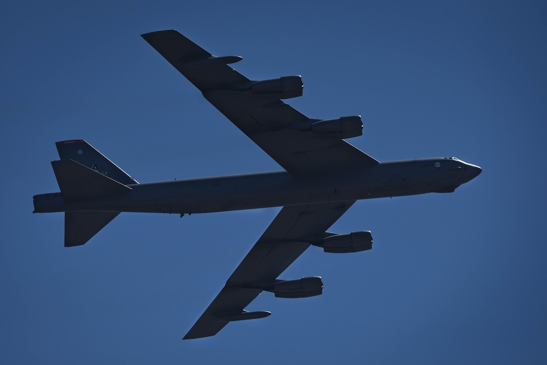 A B-52 Stratofortress flys over to kick off the Defenders of Liberty Air Show at Barksdale Air Force Base, La., May 7, 2017. The B-52 has been in service for over 60 years. (U.S. Air Force photo/Airman 1st Class Stuart Bright)