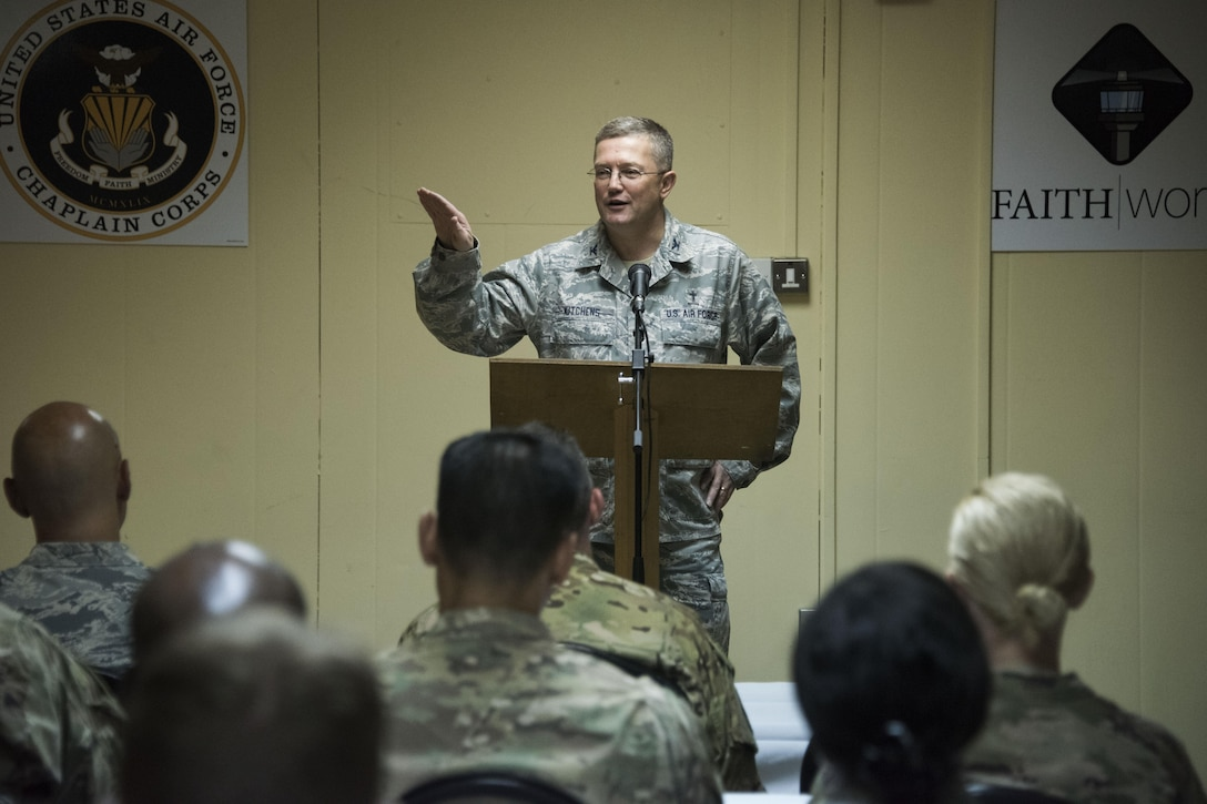 Chaplain Col. Randy Kitchens, AFCENT Command Chaplain, encourage the 386th Air Expeditionary Wing leaders to see faith as a resource during a Faith Works leadership luncheon, at an undisclosed location in Southwest Asia, May 4, 2017. The U.S. Air Force Chaplain Corps recently rolled out the Faith Works campaign to inform Airmen about the overwhelming evidence regarding the positive relationship between spirituality, religion, and health. (U.S. Air Force photo/ Tech. Sgt. Jonathan Hehnly)