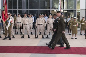 Marine Corps Gen. Joe Dunford, chairman of the Joint Chiefs of Staff; and Israeli army Lt. Gen. Gadi Eisenkot, chief of the General Staff for the Israel Defense Forces, troop the line at the IDF's headquarters in Tel Aviv, May 9, 2017. Dunford is meeting with his Israeli counterparts to discuss regional issues. DoD photo by Navy Petty Officer 2nd Class Dominique A. Pineiro