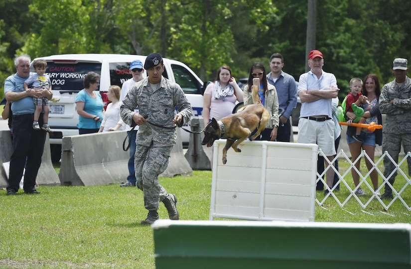 U.S. Air Force Senior Airman Trey Weston, 628th Security Forces Squadron military working dog handler, runs through an obstacle course with Ari, MWD, during a base picnic at the Air Base Picnic Grounds May 5, 2017, at Joint Base Charleston, S.C. Attendees were provided free meals and  were able to participate in various activities including face painting, wall rock climbing, live music and a Military Working Dog demonstration.