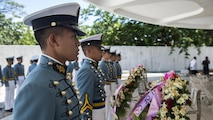 Maritime Academy of Asia and the Pacific cadets prepare to lay wreaths at a ceremony to mark the 75th anniversary of the fall of Corregidor to the Japanese during World War II on Corregidor, Cavite, May 6, 2017. The ceremony was held to commemorate the Marines, Soldiers, Sailors and Filipinos who fought and sacrificed to defend the Philippines during World War II.