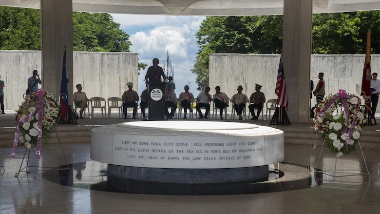 U.S. military and Philippine government officials attend a ceremony to mark the 75th anniversary of the fall of Corregidor to the Japanese during World War II on Corregidor, Cavite, May 6, 2017. The ceremony was held to commemorate the Marines, Soldiers, Sailors and Filipinos who fought and sacrificed to defend the Philippines during World War II.