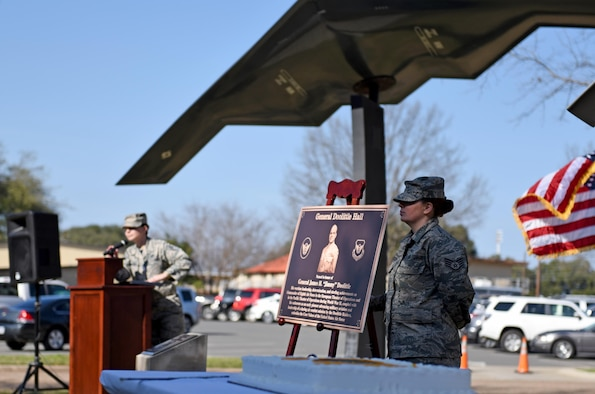 "The Eighth Air Force headquarters building was dedicated to General James H. ""Jimmy"" Doolittle during a series of events at Barksdale Air Force Base, La., Feb. 2, 2017, in commemoration of the Eighth Air Force's 75th anniversary. Doolittle commanded the Eighth Air Force during World War II and led the historic air combat mission known today as the Doolittle Raid. (U.S. Air Force photo by Senior Airman Erin Trower)"