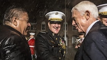 From left, the Honorable Salud Carbajal, United States representative, California's 24th Congressional District; U.S. Marine Corps Gen. Glenn M. Walters, 34th assistant commandant of the Marine Corps and the Honorable Jack W. Bergman, United States representative, Michigan's 1st Congressional District shake hands after an evening parade at Marine Barracks Washington, Washington, D.C., May 05, 2017. Evening parades are held as a means of honoring senior officials, distinguished citizens and supporters of the Marine Corps.