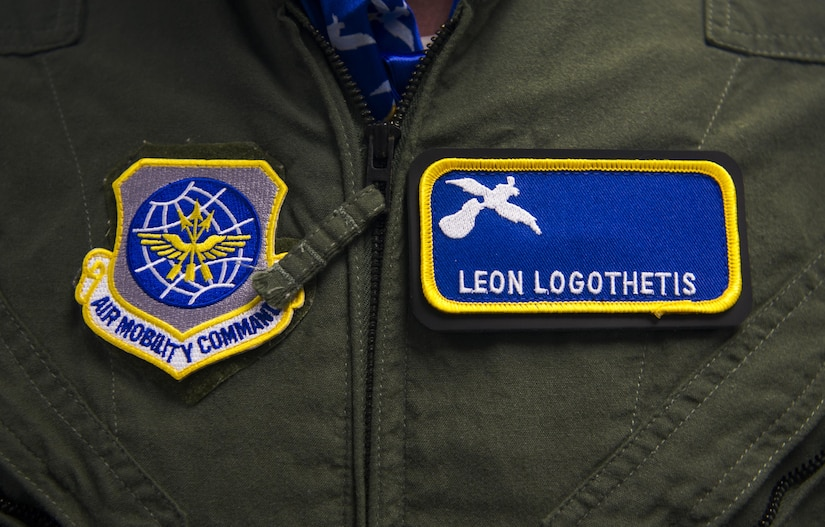 Leon Logothetis, TV personality and author of The Kindness Diaries, wears patches given to him by the 14th Airlift Squadron during a visit to Joint Base Charleston, S.C., May 5, 2017. Logothetis toured the installation and various squadrons provided demonstrations showcasing their capabilities.