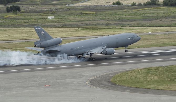 A KC-10 Extender lands at Travis Air Force Base, Calif., during the Wings Over Solano Air Show May 6, 2017. The Travis KC-10 fleet flew 1,953 sorties from the Travis flightline, offloading more than 170 million pounds of fuel in 2016. (U.S. Air Force photo by Heide Couch)