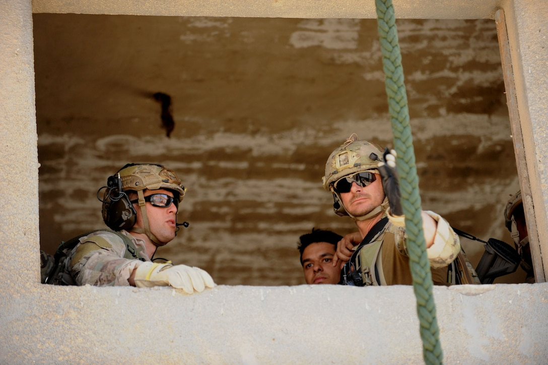 AMMAN, Jordan (May 7, 2017) Airmen assigned to personnel recovery troop 2350, prepare to exit a 2nd story window at the King Abdullah Special Operations Training Center, during a interoperability fast rope suspension exercise, as part of Exercise Eager Lion. Eager Lion is an annual U.S. Central Command exercise in Jordan designed to strengthen military-to-military relationships between the U.S., Jordan and other international partners. This year's iteration is comprised of about 7,200 military personnel from more than 20 nations that will respond to scenarios involving border security, command and control, cyber defense and battlespace management. (U.S. Navy photo by Mass Communication Specialist 1st Class Matthew Cole/Released) 170507-N-ER662-351