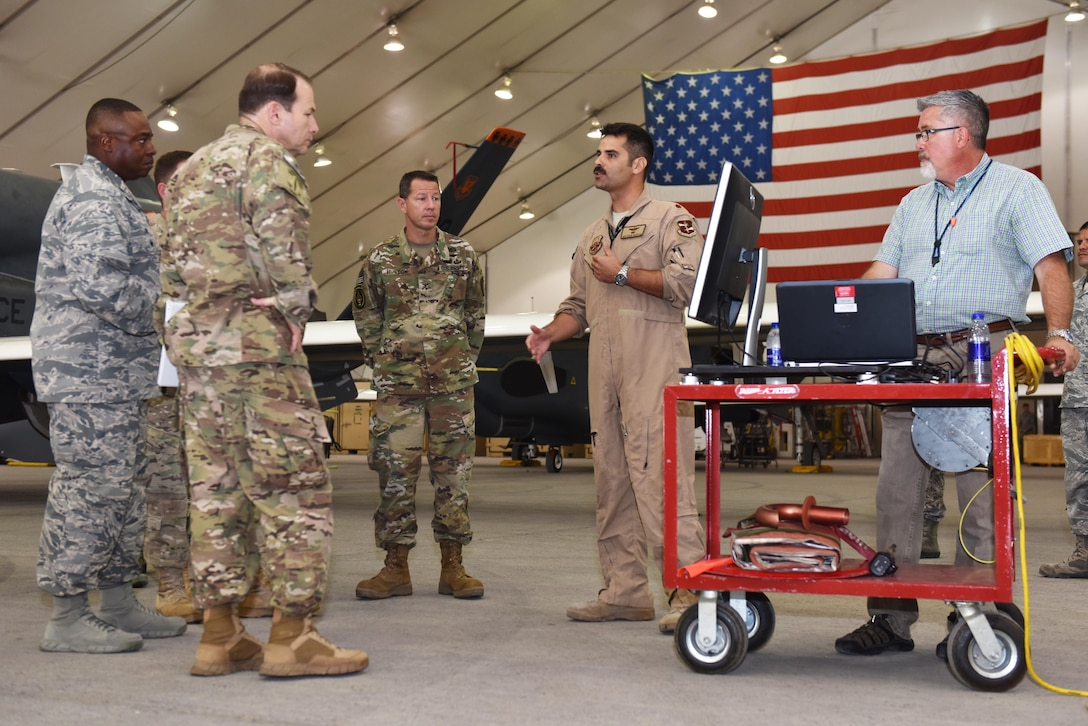 Maj. Matthew, 99th Expeditionary Reconnaissance Squadron director of operations, briefs U.S. Central Command leaders on 380th Air Expeditionary Wing capabilities at an undisclosed location in Southwest Asia, April 21, 2017. USCENTCOM commander, Army Gen. Joseph Votel, and key component leadership visited the 380 AEW to learn more about the role of airpower in Combined Joint Task Force- Operation Inherent Resolve. (U.S. Air Force photo/ Staff Sgt. Marjorie A. Bowlden)