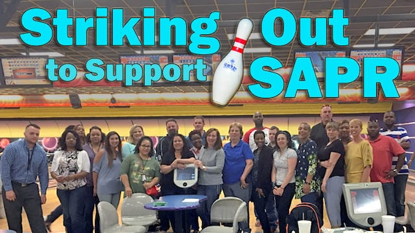 During a month-long series of team-building events, Defense Contract Management Agency Huntsville recently used signatures, teal T-shirts, jean jackets and bowling pins to raise awareness of sexual assault prevention. (DCMA graphic by Thomas Perry)