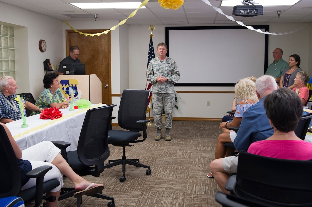 Brig. Gen. Wayne Monteith, 45th Space Wing commander, thanks and recognizes individuals during National Volunteer Appreciation Week, April 28, 2017, at Patrick Air Force Base, Fla. Monteith talked about the importance of volunteering and the positive impact it has here and in the community. Last year, the value of volunteer hours here was estimated at $1.2 million. (U.S. Air Force photo by Matthew Jurgens)