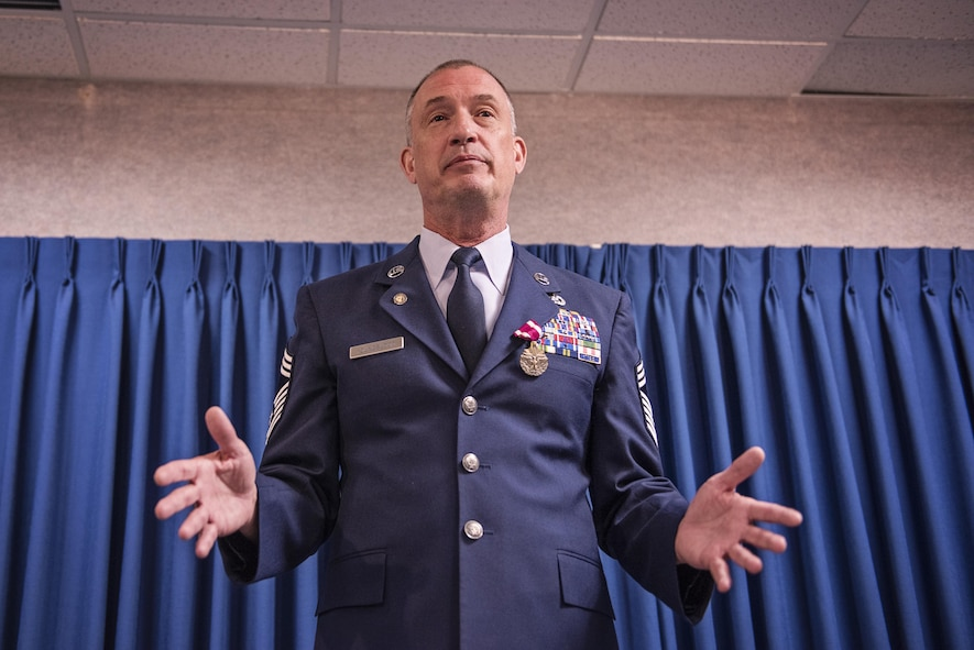 Chief Master Sgt. John C. Youngblood, the C-17 maintenance chief with the 176th Maintenance Squadron, celebrated his retirement at a ceremony on Joint Base Elmendorf-Richardson, Alaska, May 7, after more than 30 years of service . Youngblood spent his entire career in the 176th Maintenance Group of the Alaska Air National Guard's 176th Wing. (U.S. Air National Guard photo by Tech. Sgt. N. Alicia Halla/released)