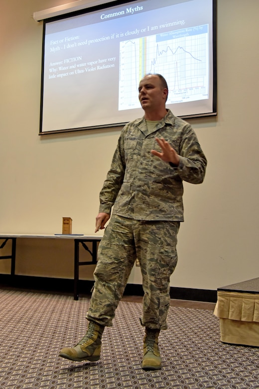U.S. Air Force Staff. Sgt. Cori Gawthrop, 312th Training Squadron instructor, teaches about sun protection for the Top Tech competition at the Event Center on Goodfellow Air Force Base, Texas, May 5, 2017. During his presentation, he talked about the different ingredients in sunscreen and what they do. During the competition, instructors had to teach a subject and audience members had to demonstrate their understanding of the topic. (U.S. Air Force photo by Staff Sgt. Joshua Edwards/Released)