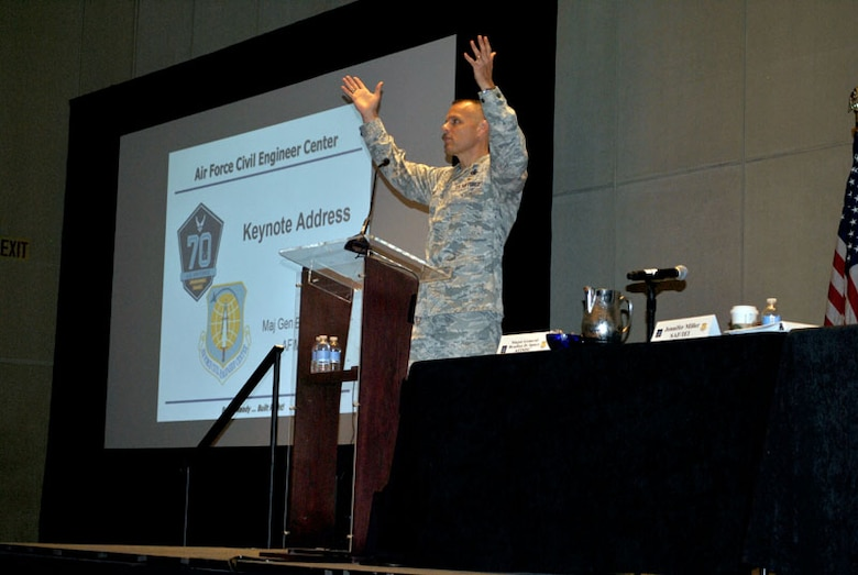 """Maj. Gen. Brad Spacy, Air Force Installation and Support Center commander, delivers the keynote address during the 2017 Housing Privatization Lessons Learned Workshop. """"Quality housing helps the U.S. Air Force recruit and retain members, and support for our Airmen and their families enables senior leaders to focus on the core mission of Fly, Fight and Win in Air, Space and Cyberspace,"""" Spacy said."""