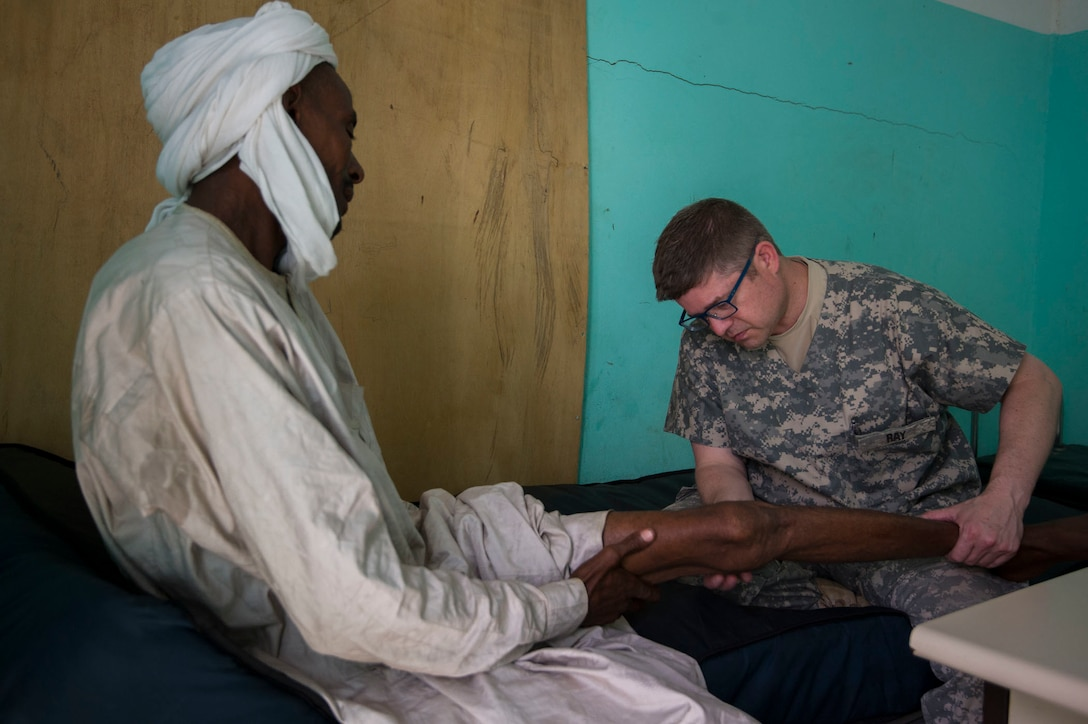 MEDRETE 17-3 includes participants from the Chadian government, U.S. Army Africa, and the 3rd Medical Command Deployment Support in Forest Park, Ga. It is the third in a series of medical readiness training exercises that USARAF is scheduled to facilitate in various countries in Africa. The mutually beneficial exercise offers opportunities for the partnered militaries to share best practices and improve medical treatment processes. (U.S. Army Africa photo by Staff Sgt. Shejal Pulivarti)