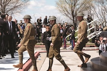 "Members of the 1st Infantry Division's Commanding General's Mounted Color Guard, dressed in World War I ""doughboy"" uniforms, provided support to America's national ceremony commemorating the centennial of the United States entry into World War I April 6 at the National World War I Museum and Memorial in Kansas City, Missouri."
