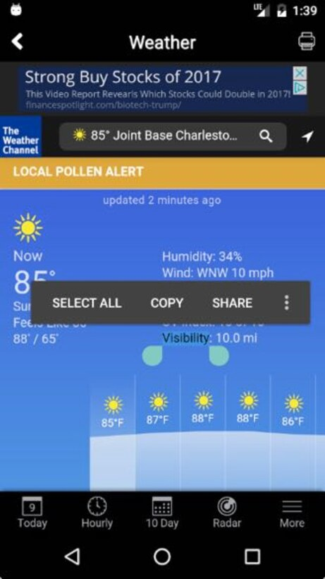 Our new Joint Base Charleston weather button is now an applet within our app.  Function buttons located at the bottom of the screen allow users to switch between current, hourly,  10 Day, Radar and more views. (U.S. Air Force Graphic / Michael Dukes)