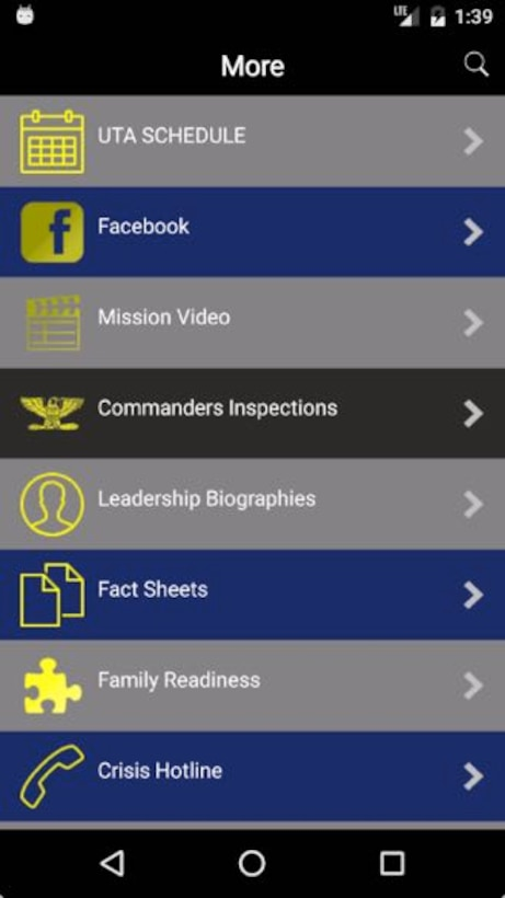 After clicking the more botton on the lower left of the 315th Airlift Wing app home page, users have access to many useful features that have been updated to for compatibility with users mobile devices. (U.S. Air Force Graphic / Michael Dukes)