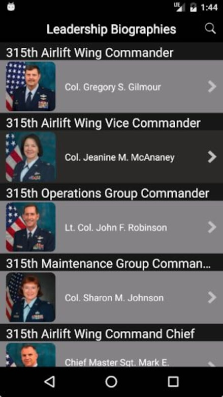 Our new leadership bios feature has been redesigned to give you pocket biographies of 315th Airlift Wing leadership. The old version was a redirect to the Wing's web page biography section. (U.S. Air Force Graphic / Michael Dukes)
