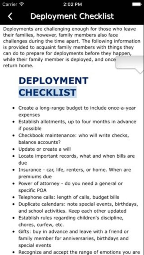 The Airman & Family Readiness button can be very useful for Reservists and their family members, by offering items like a deployment checklist and useful contacts and links (U.S. Air Force Graphic / Michael Dukes)