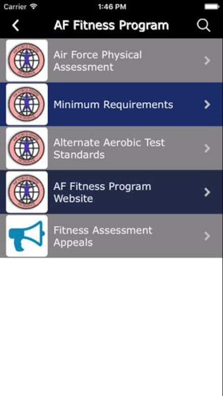 The AF Fitness Program button can be very useful for Reservists to have quick access to information about the fitness program, including charts and information about how to appeal a fitness assessment.  (U.S. Air Force Graphic / Michael Dukes)