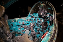 """DAYTON, Ohio -- The Mikoyan-Gurevich MiG-23MS """"Flogger-E"""" cockpit view in the museum's Cold War Gallery. (U.S. Air Force photo by Ken LaRock)"""