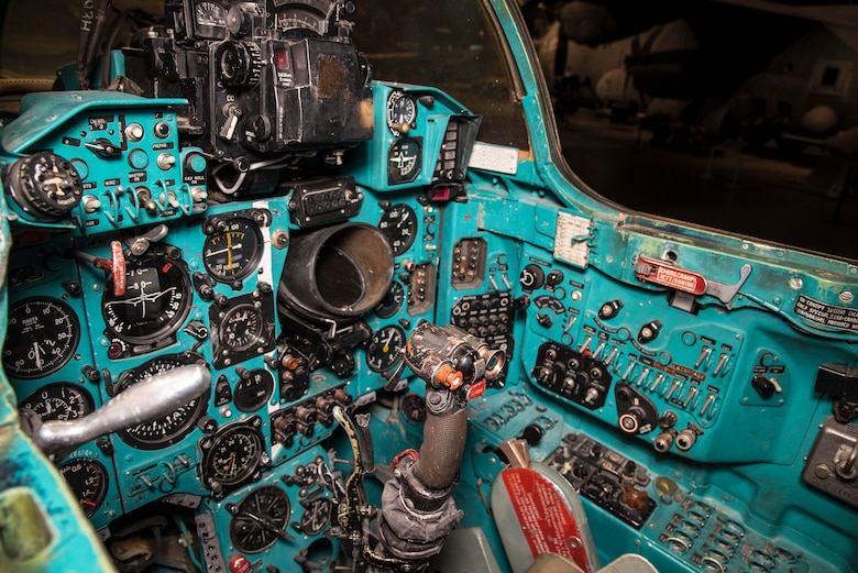"DAYTON, Ohio -- The Mikoyan-Gurevich MiG-23MS ""Flogger-E"" cockpit view in the museum's Cold War Gallery. (U.S. Air Force photo by Ken LaRock)"