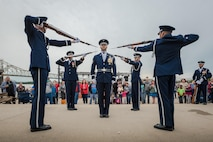 Members of the U.S. Air Force Honor Guard execute a precision rifle drill before an appreciative crowd at Waterfront Park in downtown Louisville, Ky., May 3, 2017, as part of the Kentucky Derby Festival. The Airmen, from Joint Base Anacostia-Bolling in Washington, D.C., represent the Air Force core values of integrity, service and excellence through precise drill movements, immaculate appearance and extreme attention to detail. (U.S. Air National Guard photo/Lt. Col. Dale Greer)