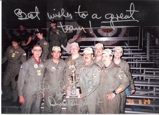 Maj. Gen. Donald William Shepperd (left), the Director of the Air National Guard from 1994 to 1998, poses with the members of the 167th Aeromedical Evacuation Squadron who won the inaugural Aeromedical Evacuation Squadron Rodeo trophy June 29, 1996. The 167th AES faced numerous challenges competing for the award that year and were helped by the 130th Airlift Wing. The 167th AES would later be relocated to the 130th Airlift Wing in Charleston, W.Va. ( courtesy photo )