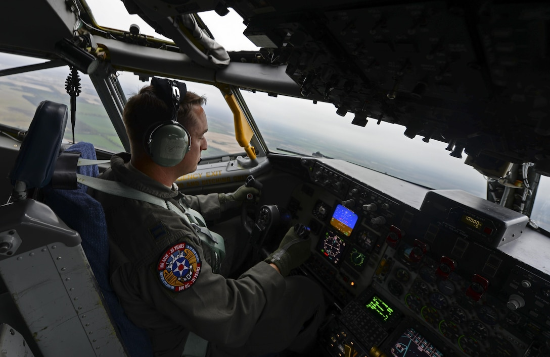 U.S. Air Force Capt. Bobby Stanford, 351st Air Refueling Squadron mission commander, flies a KC-135 Stratotanker May 3, 2017, over RAF Mildenhall, England. As the mission commander Stanford was in charge of two other aircraft during the refueling mission. (U.S. Air Force photo by Staff Sgt. Micaiah Anthony)