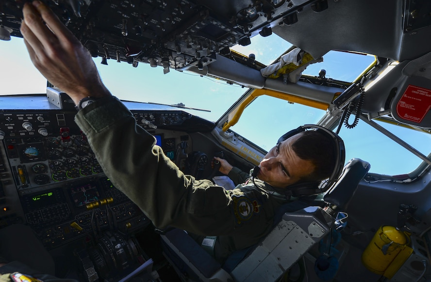 U.S. Air Force Capt. Robert Allen, 351st Air Refueling Squadron instructor pilot, flies a KC-135 Stratotanker May 3, 2017, over England. Allen was paired with two other aircrew members who both had the first name Bobby. The aircraft the crew was assigned to was given the call sign Bobby 92. (U.S. Air Force photo by Staff Sgt. Micaiah Anthony)