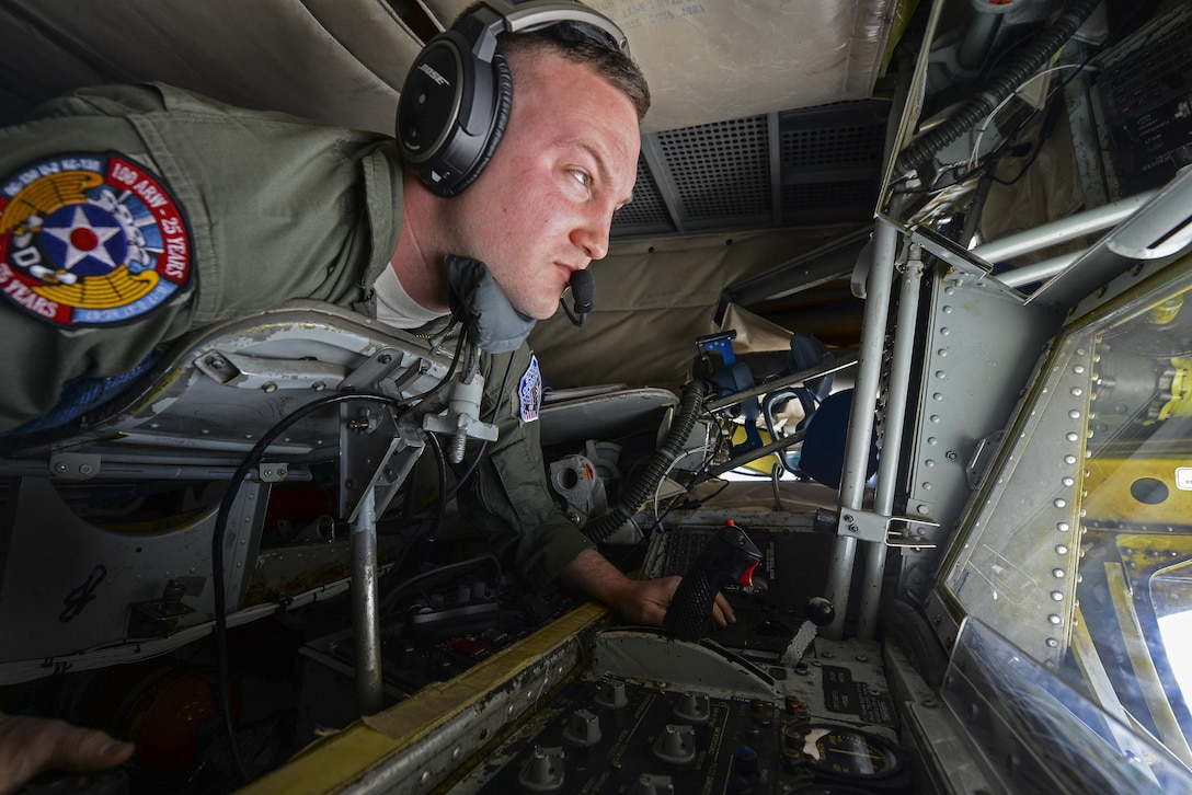 U.S. Air Force Staff Sgt. Bobby Cash, 351st Air Refueling Squadron boom operator, flies the boom of a KC-135 Stratotanker while refueling an F-15E Strike Eagles May 3, 2017. Nearly all internal fuel can be pumped through the flying boom, the KC-135's primary fuel transfer method. (U.S. Air Force photo by Staff Sgt. Micaiah Anthony)