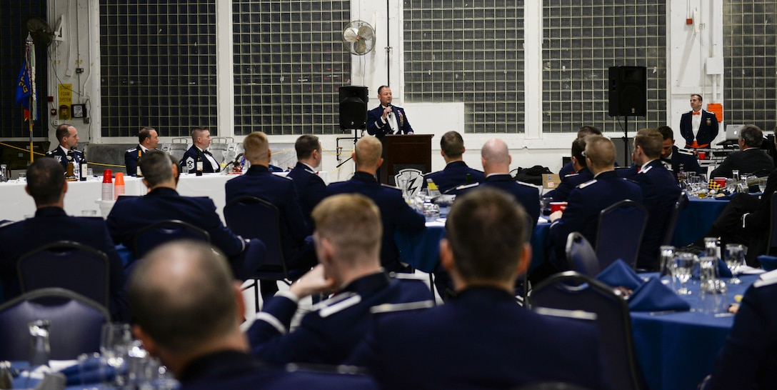 Air Combat Command Inspector General, Brig. Gen. Richard Coe, speaks at a dining-in, May 6, 2017, at Mountain Home Air Force base, Idaho. Coe spent a few days visiting his old stomping grounds, the 389th T-Bolts Fighter Squadron. (U.S. Air Force photo by Senior Airman Jessica H. Smith/Released)