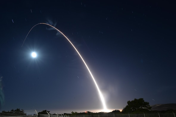 An unarmed U.S. Air Force Minuteman III intercontinental ballistic missile launches during an operational test May 3, 2017, at Vandenberg Air Force Base, Calif. A team of Air Force Global Strike Command Airmen assigned to the 341st Missile Wing at Malmstrom Air Force Base, Mont., launched the Minuteman III ICBM equipped with a single test reentry vehicle. (U.S. Air Force photo by Airman 1st Class Daniel Brosam)