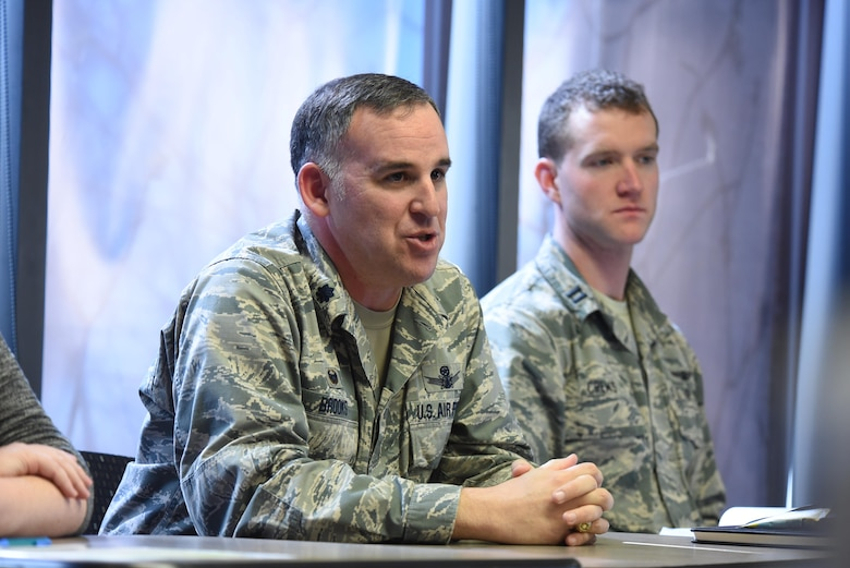 "Lt. Col. Joshua Brooks, 3rd Space Operations Squadron commander, speaks to attendees during the ""Shocking truth of seeking help: I went to mental health"" class for Wingman Day at Schriever Air Force Base, Colorado, Thursday, May 4, 2017. Brooks shared his personal experiences going to see mental health, and voiced his support for all Schriever Airmen to do the same if they feel it will help them in their lives. (U.S. Air Force photo/Airman 1st Class William Tracy)"
