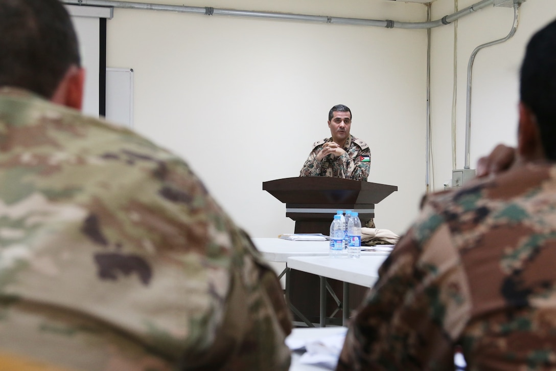 A military judge from the Jordan Armed Forces- Arab Army leads a discussion on operational law and military justice during a U.S.-Jordanian military legal symposium April 27, 2017, near Amman, Jordan. The four-day symposium included U.S. Army and U.S. Air Force legal professionals from the U.S. Central Command and military judges from the Jordan Armed Forces- Arab Army. (U.S. Army National Guard photo by Master Sgt. A.J. Coyne)