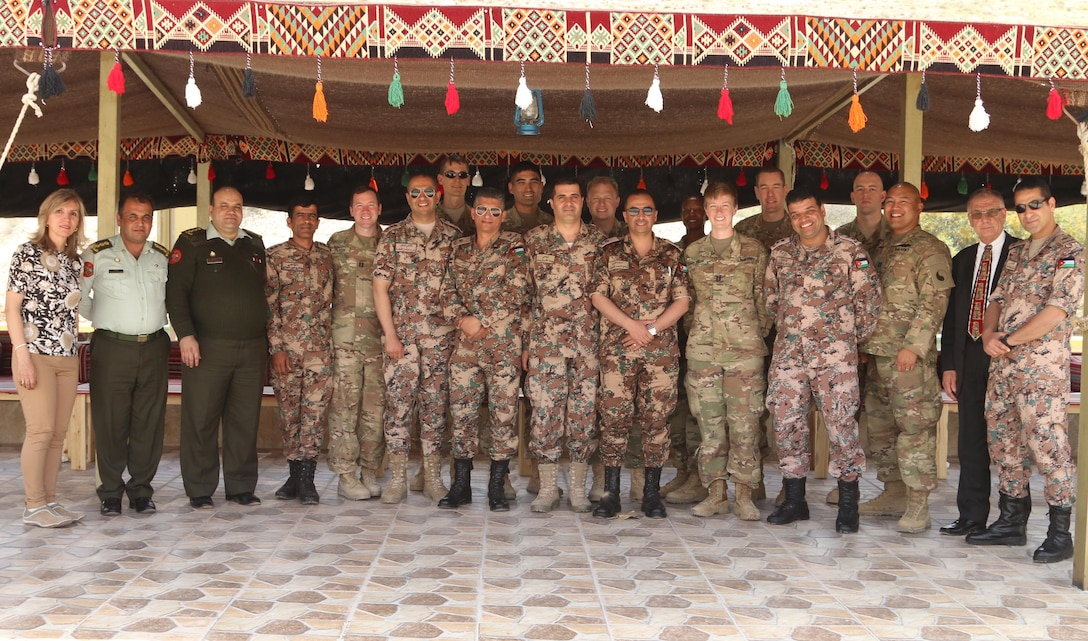 U.S. Army and U.S. Air Force legal professionals from the Central Command area of operations pose with Jordan Armed Forces- Arab Army military judges at the conclusion of a four-day symposium on operational law and military justice April 27, 2017, near Amman, Jordan. In addition to overviews of both the U.S. and Jordanian military justice systems, topics of the symposium included Operational and International Law, Law of Armed Conflict, Joint Targeting Process, Rules of Engagement, Rights of Refugees and Internally Displaced Persons, Military Justice, and Attorney Ethics. (U.S. Army National Guard photo by Master Sgt. A.J. Coyne)