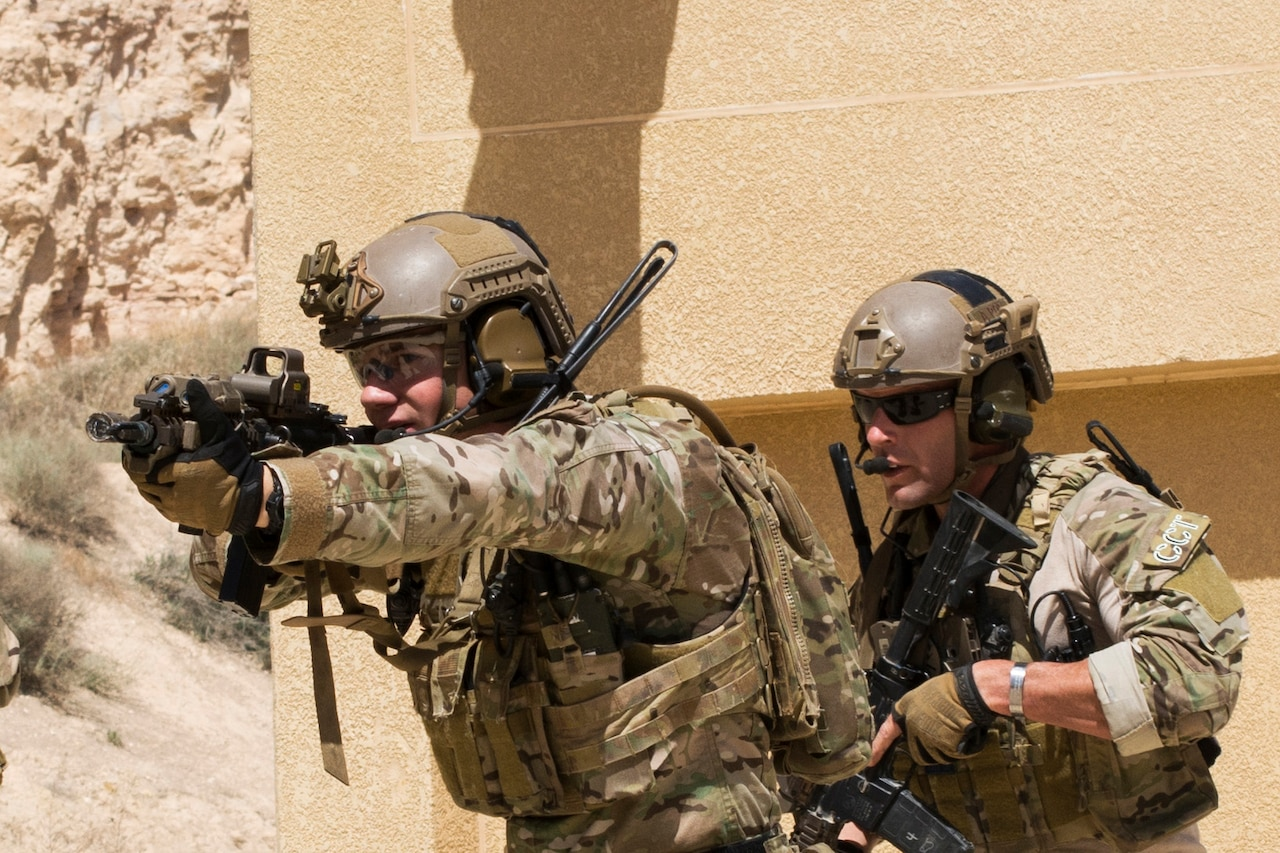 Members of the Air Force Special Operation's 23rd Special Tactics Squad participate in small unit tactics at the King Abdullah II Special Operations Training Center during Eager Lion 2017 in Amman, Jordan, May 8, 2017. Eager Lion is an annual U.S. Central Command exercise in Jordan designed to strengthen military-to-military relationships between the U.S., Jordan and other international partners. Navy photo by Petty Officer 2nd Class Christopher Lange