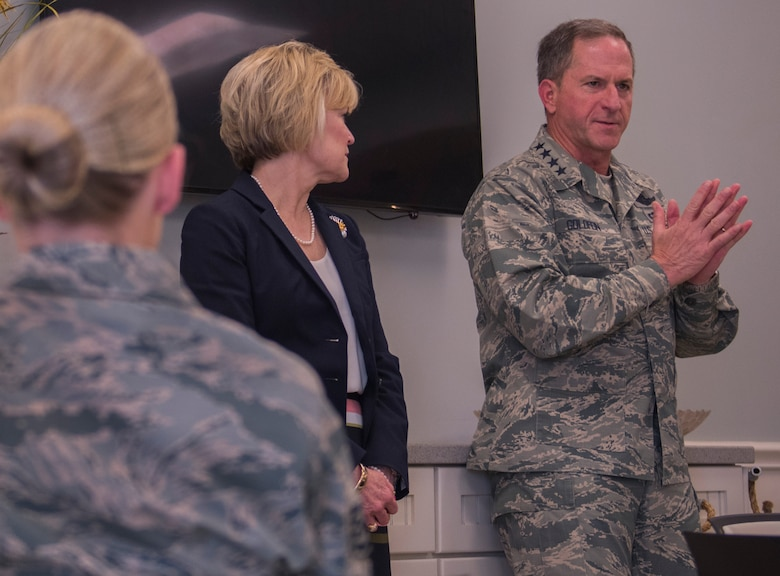 Air Force Chief of Staff Gen. David L. Goldfein and his spouse, Dawn, talk with junior Airmen during their visit to Eglin Air Force Base, Fla. May 9. The General and his spouse made brief remarks before taking questions from the Airmen and their spouses. The topics ranged from the F-35 to daycare. Goldfein also spoke about his combat experience as a fighter pilot. (U.S. Air Force photo/Ilka Cole)