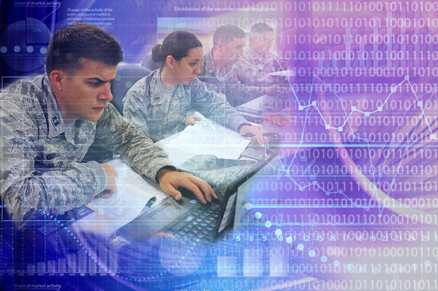 Data analytics can turn data into valuable information for future decision making and make operations more effective and efficient. In June, AFIT will conduct two workshops at Wright-Patterson AFB to teach the basics on data analytics and tools within Microsoft Excel in conjunction with logistics data that the students use every day. (U.S. Air Force Graphic Illustration/Paul Hartman)