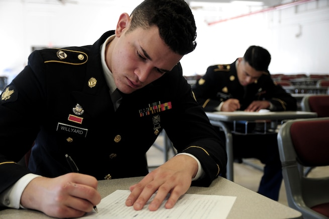 Spc. Mitchell Willyard, a human resources specialist with the 620th Combat Sustainment Support Battalion, writes an essay during the Best Warrior Competition hosted by the 79th Sustainment Support Command at Camp Pendleton, Calif., May 4, 2017. 