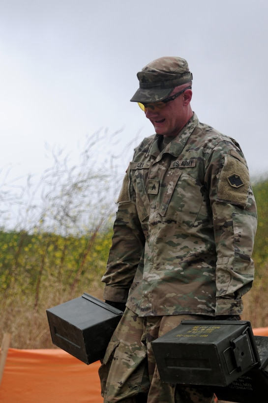 Sgt. Brandon Blue, a horizontal construction engineer with the 786th Quartermaster Company, carries ammo cans during the 5k challenge event of the Best Warrior Competition hosted by the 79th SSC at Camp Pendleton, Calif., May 6, 2017.   The U.S. Army Reserve's 79th Sustainment Support Command hosted their 2017 Best Warrior Competition at Camp Pendleton, Calif., May 3-6. The Best Warrior Competition seeks out the best candidate that defines a U.S. Army Soldier by testing Soldiers physically and mentally. The competition consisted of one enlisted Soldier and one noncommissioned officer from four separate one-star commands, which fall underneath the command and control of 79th SSC. At the conclusion, one Soldier and one NCO were named the 79th SSC Best Warriors and will represent the command in the U.S. Army Reserve Best Warrior Competition held at Fort Bragg, N.C., June 4-10, 2017. (U.S. Army photo by Sgt. Heather Doppke/released)
