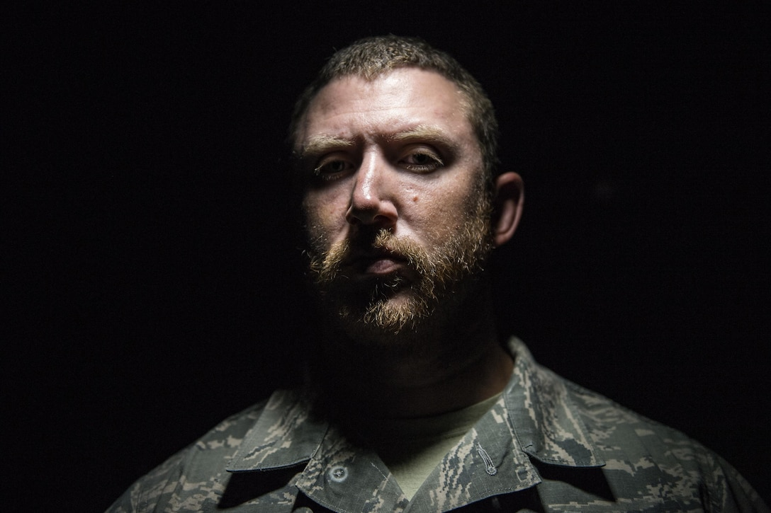 Staff Sgt. Nicholas Worley, 23d Civil Engineer Squadron electrical systems craftsman, poses for a photo, May 8, 2017, at Moody Air Force Base, Ga. In January 2012 Worley was diagnosed with Chronic Myelogenous Leukemia, an uncommon form of blood-cell cancer that starts in the blood-forming bone marrow cells. He's currently in remission and goes to the cancer center every three months to ensure his treatment is still working. (U.S. Air Force Photo by Senior Airman Janiqua P. Robinson)
