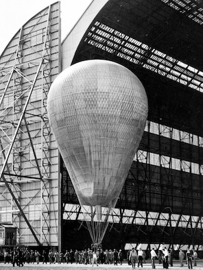 """Pictured is the Goodyear Zeppelin Corporation's three million cubic foot balloon, which was the largest balloon ever made. Maj. William Kepner was appointed to pilot the craft. Capt. Albert Stevens and Capt. Orvil Anderson accompanied him as the alternate pilot and organizer of the expedition camp dubbed the """"Stratobowl."""""""