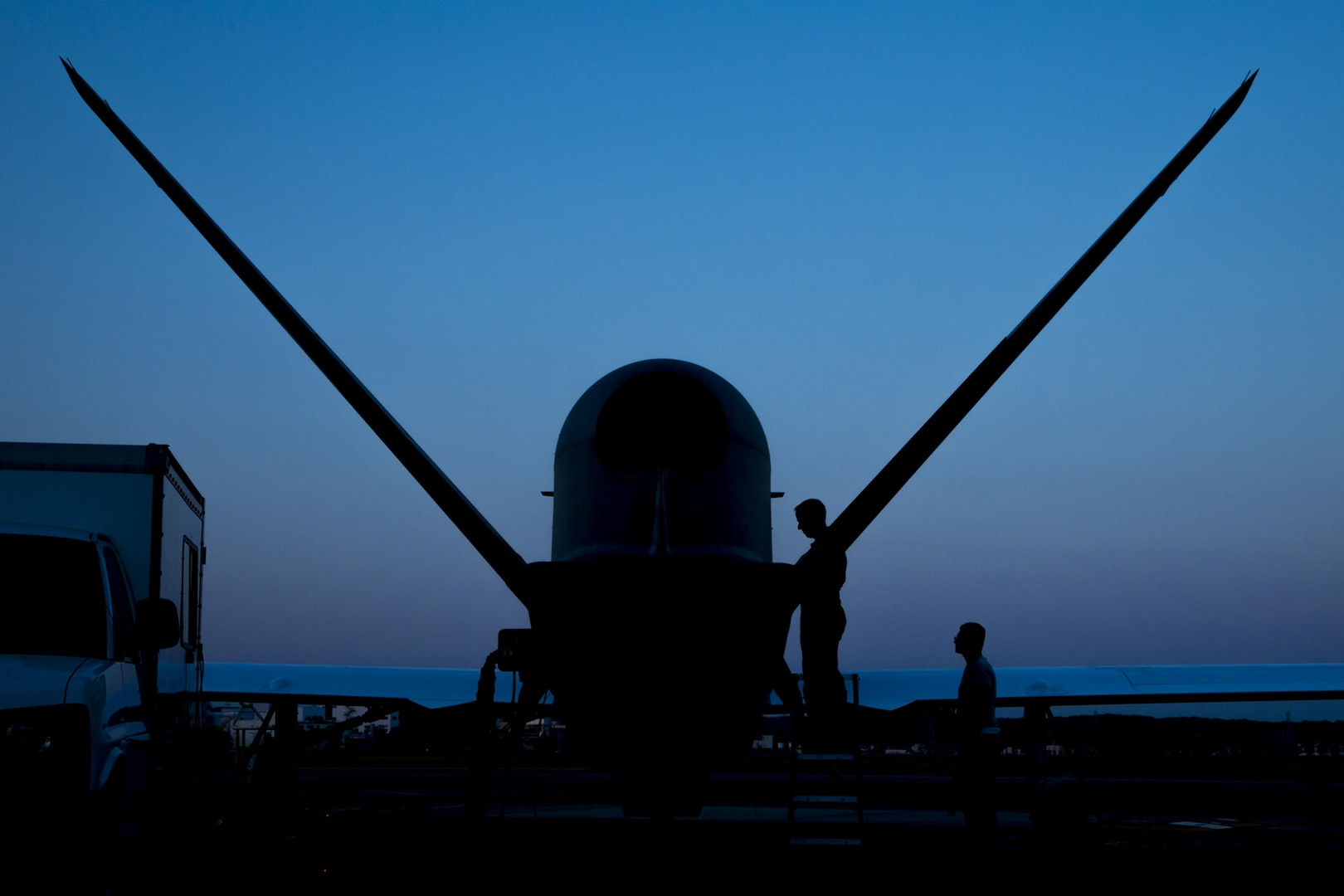 Capt. Mark, 69th Reconnaissance Group Detachment 1, performs preflight checks on an RQ-4 Global Hawk for its first take off from Yokota Air Base, Japan, May 5, 2017. The Global Hawk is temporally deployed to Yokota from Andersen Air Force Base, Guam to support U.S. intelligence, surveillance, and reconnaissance priorities, operational plans and contingency operations throughout the Pacific theater.