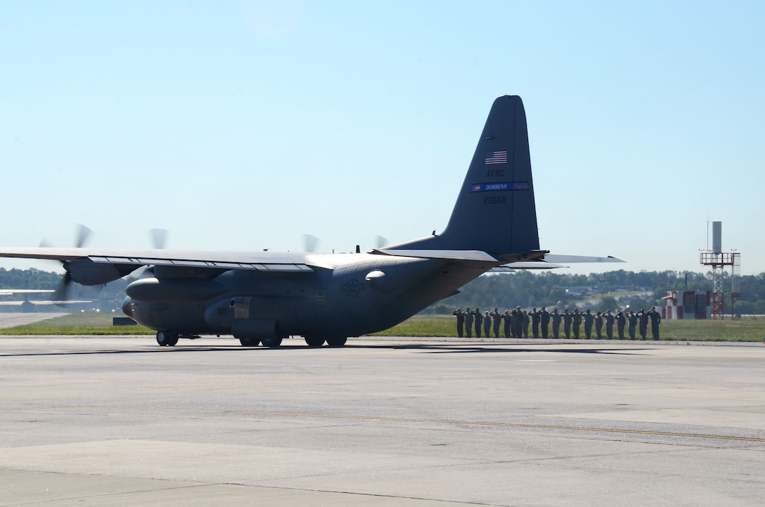 Four C-130 H3 Hercules aircraft depart Dobbins Air Reserve Base, Georgia May 8, 2017 in route to Southwest Asia. Over 150 aircrew, aircraft maintenance and support personnel from the 94th Operations and Maintenance Groups will complete a four-month Air Expeditionary Force rotation, during which they will be responsible for cargo and personnel airlift and tactical airdrop missions. (U.S. Air Force photo/Don Peek)