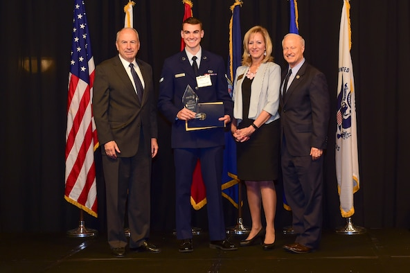 Airman 1st Class Christopher Von Haasl is awarded the Colorado National Guard Airman of the year at the Armed Forces Recognition Luncheon May 5, 2017, at the DoubleTree by Hilton in Denver. The AFRL is an annual event hosted by the Aurora Chamber of Commerce in appreciation of Colorado's active-duty, guardsmen and reservists. (U.S. Air Force photo by Airman Jacob Deatherage/Released)