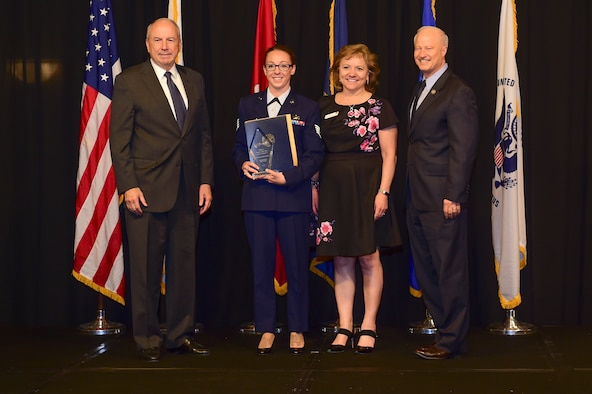 Staff Sgt. Krystal Eisenhauer is awarded the reservist Airman of the year at the Armed Forces Recognition Luncheon May 5, 2017, at the DoubleTree by Hilton in Denver. The AFRL is an annual event hosted by the Aurora Chamber of Commerce in appreciation of Colorado's active-duty, guardsmen and reservists. (U.S. Air Force photo by Airman Jacob Deatherage/Released)