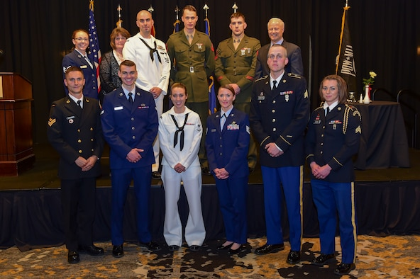 The winners at the Armed Forces Recognition Luncheon stand together May 5, 2017, at the DoubleTree by Hilton in Denver. The AFRL is an annual event hosted by the Aurora Chamber of Commerce in appreciation of Colorado's active-duty, guardsmen and reservists. (U.S. Air Force photo by Airman Jacob Deatherage/Released)